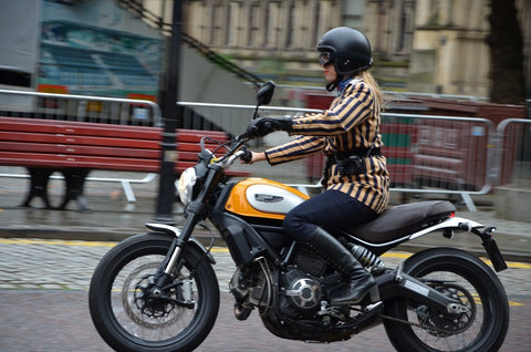 stylish lady on a ducati motorcycle at manchester gentlemans ride