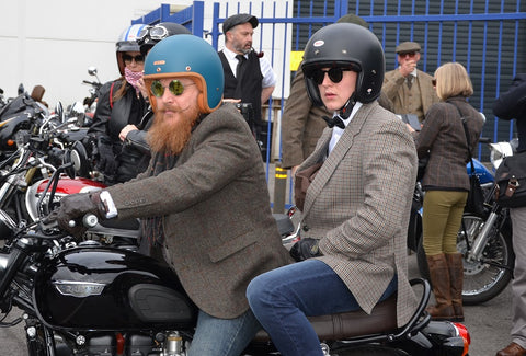 gentlemans ride two riders pillion in tweed