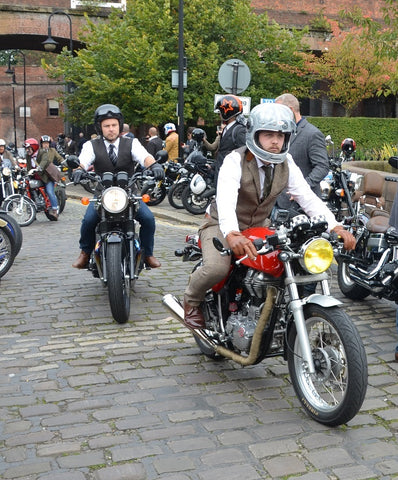 two riders at Manchester Gentlemans Ride in waistcoats.