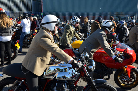 Moto Guzzi v twin and Ducati caff=e racer arrive at Mnachester DGR