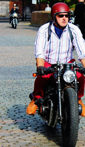 Rider in striped shirt at Distinguished Gentlemans Ride Manchester