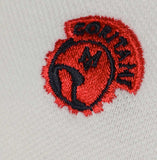Meccanica Clothing centurion motive logo right chest embroidery in red