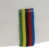 Meccanica Clothing white polo World Champion rainbow detail on back seam