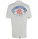 Meccanica Clothing white polo Pit Lane full back screen print