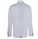 Meccanica mens white cotton Oxford shirt Made in Britain rear pocket detail