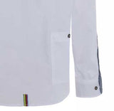 Meccanica mens white cotton Oxford shirt Made in Britain contrasting cuff detail