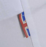 Meccanica mens white cotton Oxford shirt Made in Britain Union Jack tag