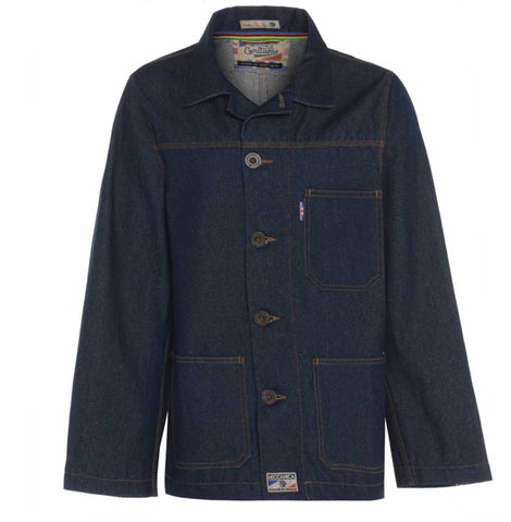 Mens classic retro raw denim jacket made in Britain by Meccanica