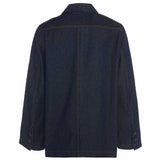 Mens classic retro raw denim jacket made in Britain by Meccanica back shot