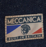 Mens classic retro raw denim jacket made in Britain by Meccanica detail