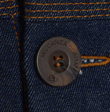 Mens classic retro raw denim jacket made in Britain by meccanica etched buttons