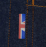 Mens classic retro raw denim jacket made in Britain by meccanica union jack detail