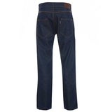 Meccanica raw denim blue straight leg British Made jeans rear view