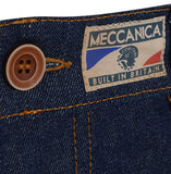 Meccanica raw denim blue straight leg jeans button and Built In Britain detail