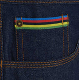 Meccanica raw denim blue straight leg jeans ticket pocket detail