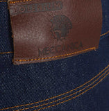 Meccanica raw denim blue straight leg jeans leather badge detail