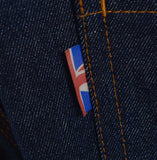 Meccanica raw denim blue straight leg jeans Union Jack tag detail