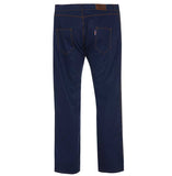Rear view Cotton British made blue narrow leg chino jeans - triple stitched