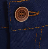 Button detail Cotton British made blue narrow leg chino jeans - triple stitched