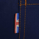 Union Flag detail Cotton British made blue narrow leg chino jeans - triple stitched