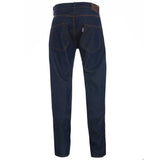 Meccanica hand made in UK triple stitched jeans raw denim narrow leg rear view