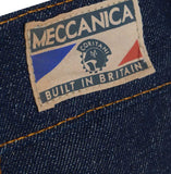 Meccanica hand made in UK triple stitched jeans raw denim narrow leg belt label