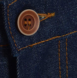 Meccanica hand made in UK triple stitched jeans raw denim narrow leg button detail