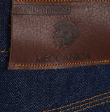 Meccanica hand made in UK triple stitched jeans raw denim narrow leg leather patch