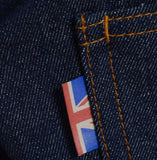 Meccanica hand made in UK triple stitched jeans raw denim narrow leg Union Jack tag detail