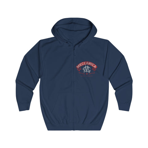 Full zip British hoodie in navy blue with Meccanica Badge logo hidden iPhone cord opening in front pocket Front view