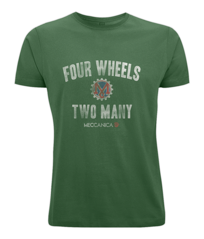 Meccanica Clothing T-Shirt - Two Wheels - British Racing Green