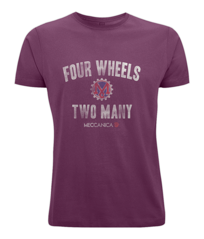 Meccanica Clothing Classic British T-Shirt - Two Wheels - Burgundy