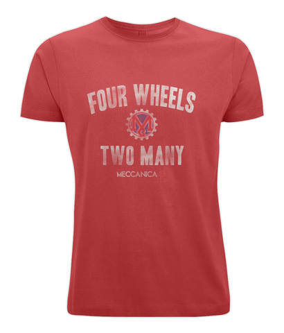 Meccanica Clothing Classic British T-Shirt - Two Wheels - Red