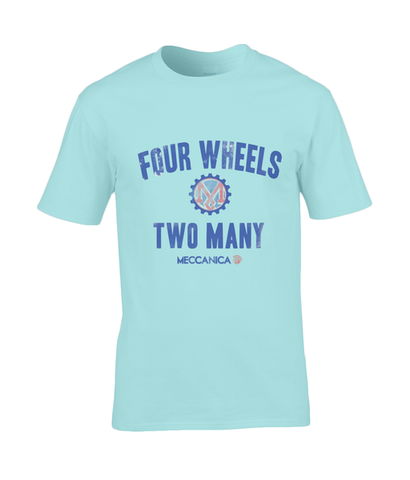 Classic British T shirt using the best quality pre-shrunk cotton. Sky blue Four Wheels Two Many