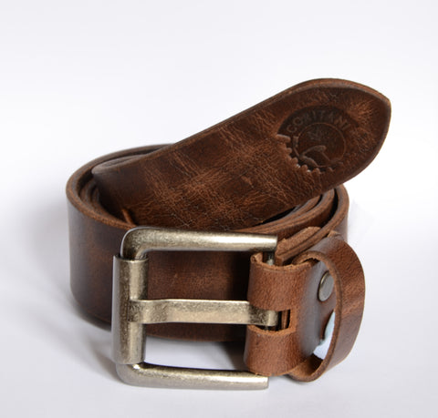 Mens brown distressed leather belt with steel buckle
