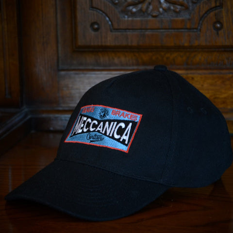 Meccanica British Black Logo Baseball Cap 100% Cotton Classic Design
