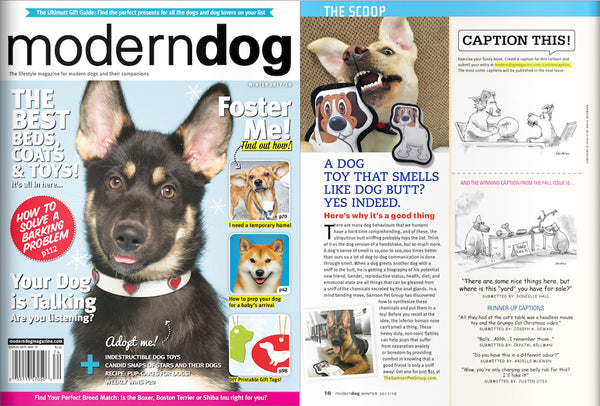 Our CANINE COOLEYS™ toy is featured in Modern Dog Magazine's Winter 2017/2018 issue!