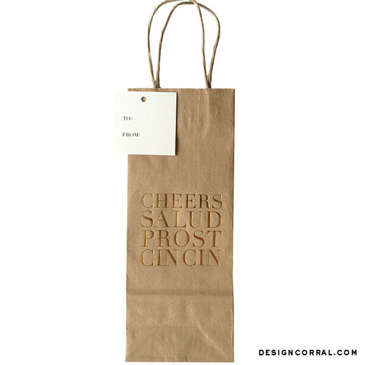 Gold Foil Wine Kraft Bag With Cheers