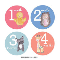 Baby Girl Monthly Stickers Animals