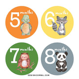 Baby Boy Monthly Stickers Animals