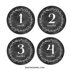 Baby Monthly Stickers Chalkboard