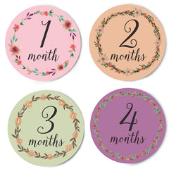 Floral Wreaths Monthly Stickers For Baby