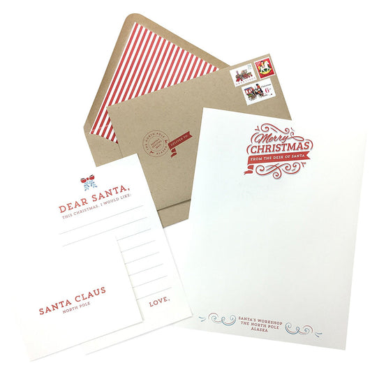 Design Corral From Santa Letter With Envelope and Vintage Christmas Stamps Santa Wish List