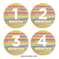 Baby Monthly Stickers Striped Watercolor
