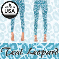 Teal Leopard - Active Gear Tights Xs / Blue