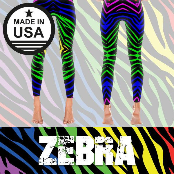 Rainbow Zebra - Active Gear Tights Xs / Blue