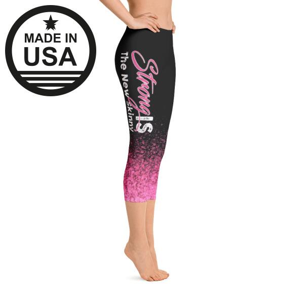 Strong Is The New Skinny Pink Splash - Active Gear Capri Tights Xs / Blue