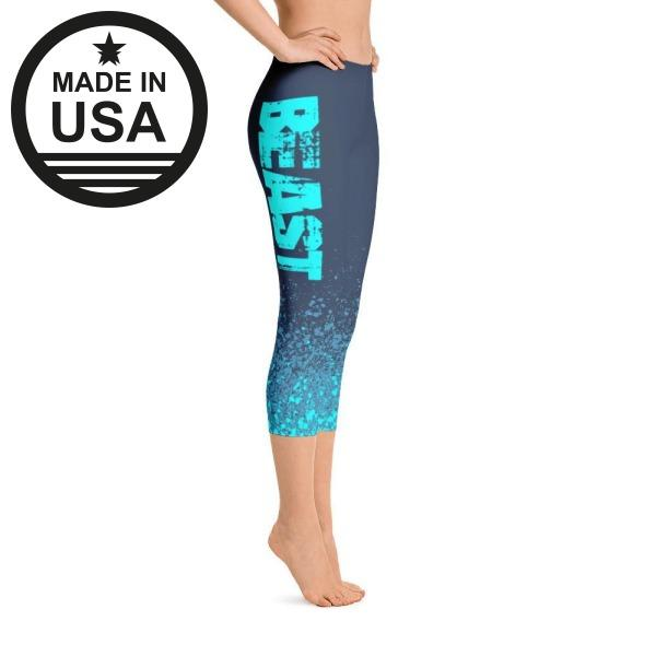 Beast Blue Splash - Active Gear Capri Tights Xs /