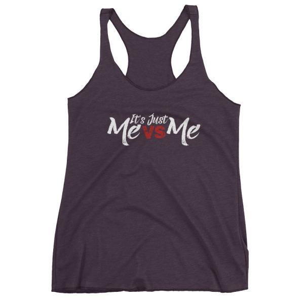 Its Just Me Vs - Racerback Tank Dark Purple / Xs
