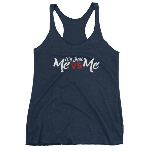 Its Just Me Vs - Racerback Tank Navy Blue / Xs